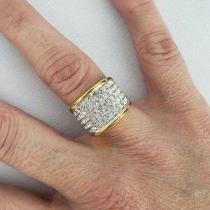 Gold Rhinestone 18K GEP Ring Size 6